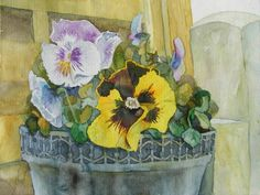 freshly potted (c)  #watercolor by FRank Koebsch, 30 x 40 cm; $285; if you feel interested in how the picture is created, use this link http://frankkoebsch.wordpress.com/2012/03/27/stiefmutterchen-aquarell/