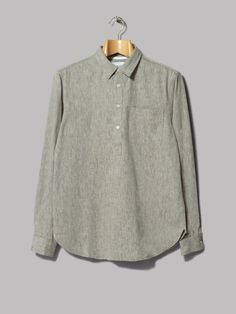 Norse Projects Oskar Half Placket Shirt (Light Grey Melange)
