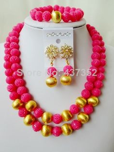 Fashion Fuchsia Hot Pink Nigerian Bead Necklaces Wedding Artificial Beads Jewelry Set African Coral Beads Jewelry Set CWS1140 $58.10