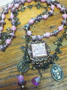 Paris Romance.    $20    layered pink&purple beads, flying birds, leaves & vintage finds!