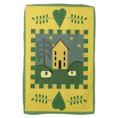 #country - #Primitive Yellow House and Sheep Towel