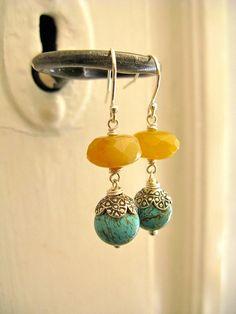 Bahia earrings: Turquoise, honey jade and silver. #boho #bohemian #jewelry #jewellery