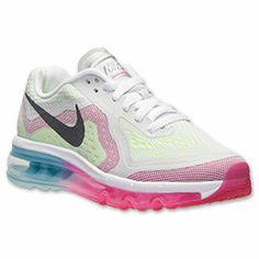 Girls' Grade School Nike Air Max 2014 Running Shoes| FinishLine.com | Pure Platinum/Black/Vivid Pink/Volt