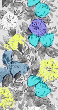 Botanical Flower bright by Crystal Walen color combo I Wallpaper, Pattern Wallpaper, Wallpaper Backgrounds, Flower Wallpaper, Nature Wallpaper, Phone Backgrounds, Textures Patterns, Print Patterns, Floral Patterns