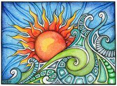 Saltyair by TapWaterTaffy on DeviantArt Boho Pattern, Wal Art, Sun Painting, Design Floral, Bristol Board, Moon Art, Art Plastique, Doodle Art, Art Drawings