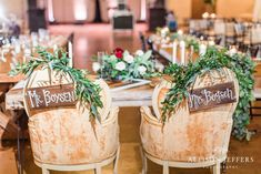 Love this sweetheart table and chairs! They are just adorned perfectly with greenery and Mr. Sweetheart Table, Table And Chairs, Signage, Greenery, Table Decorations, Home Decor, Homemade Home Decor, Interior Design, Home Interiors