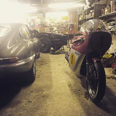 When you open the #garage door and there's a #newtoy sat there. #mvagusta #mv #etype #jaguar #classic #agostini