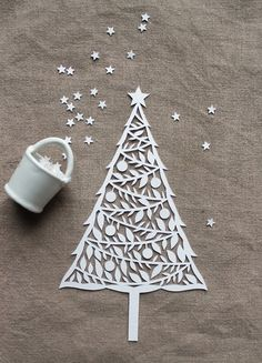 paper cut christmas tree