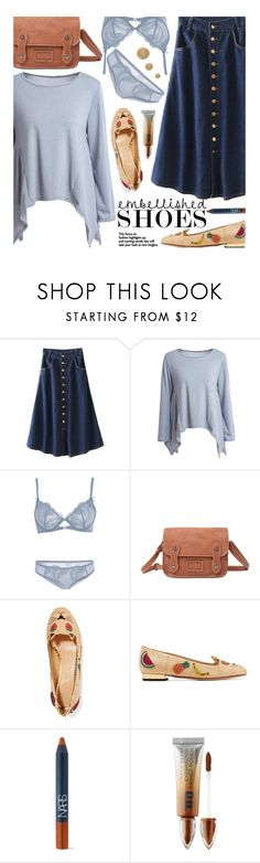 """""""Off Duty: Embellished Shoes"""" by beebeely-look ❤ liked on Polyvore featuring Charlotte Olympia, NARS Cosmetics, Urban Decay, Burberry, preppy, denimskirt, embellishedshoes, offdutystyle and twinkledeals"""