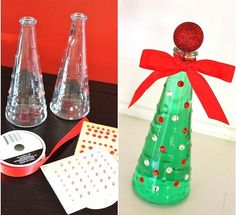 Christmas!    DIY ...IKEA vase Christmas tree filled with green water :)