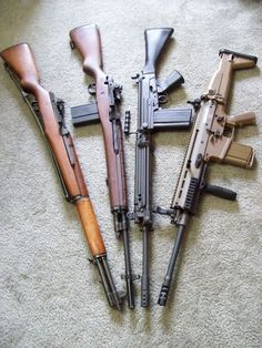 Springfield M1 Garand, Springfield M14, FN FAL, FN SCAR-17. Last three in 7.62X51mm NATO (aka .308 Winchester). The Garand is in 7.62X63mm (.30-06 US rifle).