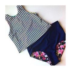 modest swimsuit, summer, cute, tankini, high waisted bottoms, bellapia desigs