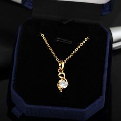45.5cm Fashion Jewelry Pendant Inlay Shiny Zircon 18K Gold Plated Copper Necklace