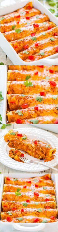 Sweet Potato, Corn & Black Bean Enchiladas (vegetarian) - Healthier comfort food that everyone will love at your #CincoDeMayo Party! Fast, easy & tastes amazing!