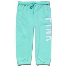 Victoria's Secret Campus Crop Pant ($40) ❤ liked on Polyvore featuring activewear, activewear pants, pants, bottoms, pajamas, sweats, shorts, victoria's secret, victoria secret activewear and victoria secret sportswear