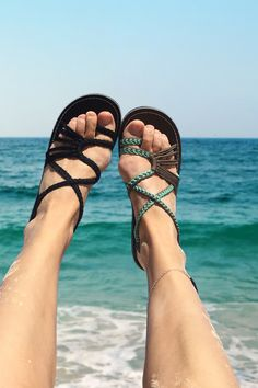 Beautifully braided flat sandals. • soft straps for endless walks without rubbing • Adjust the tightness by pulling the staps • waterresistant - use them on the beach • vegan#sandals#comfort#looks #turquoise #flats #shoeoftheday Beach Sandals, Flat Sandals, Vegan Sandals, Summer Rain, Walks, Best Sellers, Turquoise, Brown, Fashion
