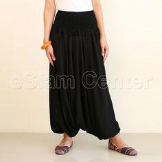 Drop Crotch Pants Parachute Pants Solid Black Aladdin Pants, Black Harem Pants, Drop Crotch Pants, Solid Black, Parachute Pants, Elastic Waist, Trousers, Costumes, My Style