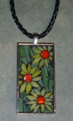 Mosaic daisies yellow and orange pendant