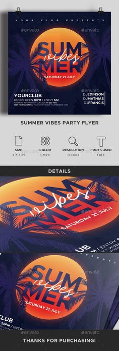 Summer Vibes Party Flyer #festival #music Summer Club, Club Flyers, Psd Flyer Templates, Brochure Cover, Club Parties, Tropical Party, Summer Is Coming, Festival Posters, Advertising Poster