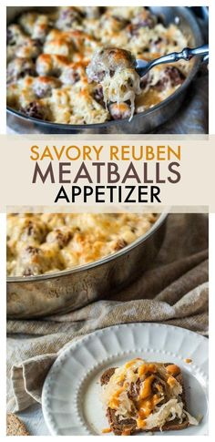 Savory Reuben meatballs are a one pan appetizer that are perfect for comfort food entertaining! #appetizers #meatballs #gameday via @taketwotapas
