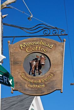 Maine, Boothbay Harbor - Moosehead Coffee Shop Sign Mount Pisgah by SarahO44, via Flickr