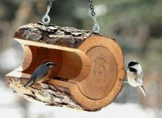 549509592004636170 log bird feeder. Create a small log by carving out part of a small piece of wood. If you use firewood in the winter, just...