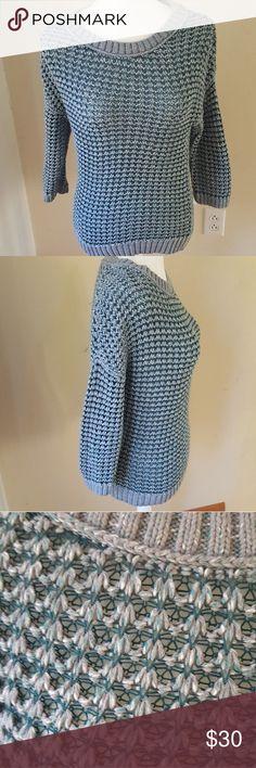 Blue loft sweater Knit sweater. 3/4 sleeves.  Very pretty. Price firm. LOFT Sweaters