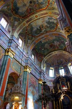 Baroque interior of the cathedral in Lublin, Poland