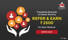 Earn Upto Rs. 25000 Free Cash Just By Referring your Friends to Classic Rummy!    #rummy #classicrummy #freecash #referandearn #referafriend #rummyonline