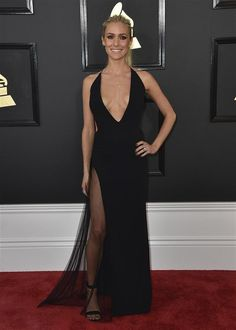Skin was in on the Grammys red carpet, and Kristin Cavallari proved just that with this black dress. Unfortunately for Kristin, we weren't fans of her gown, which featured a super-plunging neckline and sheer paneling nearly up to her waist.