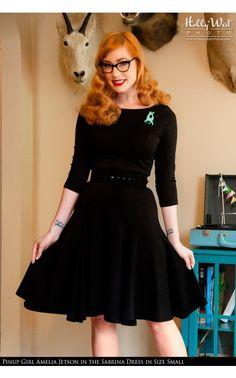 3/4 Sleeve Sleek Scoopneck Dress with Full Skirt in Black   Pinup Girl Clothing