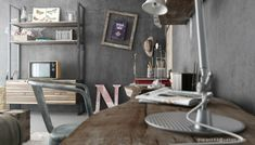 Interior Design, Cool Driftwood Shelf In Industrial Bedrooms Design: Luxurious Industrial Bedrooms with Great Detail
