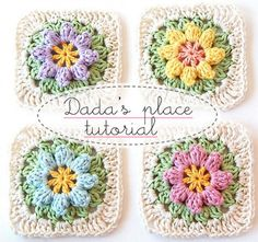 Use these Crochet Flower Granny Squares for cushion covers, blankets and . They're a great FREE Pattern and so versatile! You'll   the Flower Valance and Crochet Puffy Flower Free Patterns as well.
