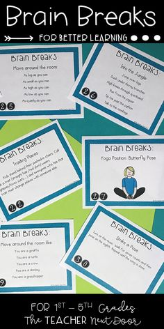 This set of 100 Brain Breaks task cards are filled with over 250 active games, exercises, and creative movement to help your kids regain focus after periods of sitting. These activities are not only fun but beneficial for learning. Studies have shown that brain breaks activate the mind, reduce behavior problems, and help to relieve stress.