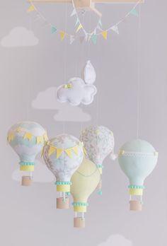 Aqua Yellow Grey Baby Mobile Hot Air Balloon by sunshineandvodka