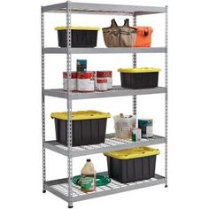 Muscle Rack 72 in. H x 48 in. W x 24 in. D 5 Shelf Z-Beam Boltless Steel Shelving Unit in - The Home Depot Garage Shelving Units, Steel Shelving Unit, Shelving Racks, Wire Shelves, Home Depot, Corner Storage Unit, Storage Units, Steel Garage, Standing Shelves