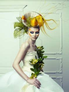 Lady with avant-garde hair and bright make-up Stock Photo@Nacole