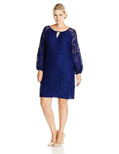 3a2363c9c88 AGB Women s Plus-Size Long Sleeve Scalloped Lace Dress... Scalloped Lace