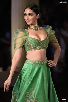 Kiara Advani wearing beautiful green embroidered lehanga with choli Bollywood Actress Hot Photos, Indian Bollywood Actress, Bollywood Girls, Beautiful Bollywood Actress, Indian Actresses, Actress Pics, Bollywood Saree, Tamil Actress, Bollywood Fashion