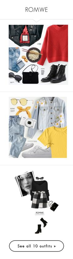 """""""ROMWE"""" by monmondefou ❤ liked on Polyvore featuring WithChic, Wrap, Ray-Ban, Nikon, Prada, Chanel, Escada Sport, black, Articles of Society and Topshop"""