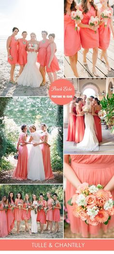 a34d289a1bf Pantone peach echo inspired spring bridesmaid dresses ideas 2016 Coral  Colored Bridesmaid Dresses