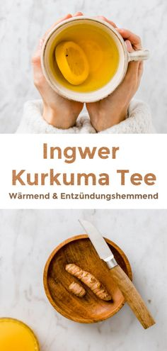 This warming and healing Lemon Ginger Turmeric Tea is the perfect companion throughout winter! It's pleasant, delicious and anti-inflammatory. Tumeric Tea Recipe, Turmeric Drink, Turmeric Recipes, Ginger Lemon Tea, Tumeric And Ginger, Ginger Benefits, Tea Benefits, Shot Recipes, Tea Recipes