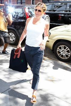 Jennifer Aniston Looks Refreshed Post-Vacation in a Laid-Back Ensemble in N.Y.C. from InStyle.com