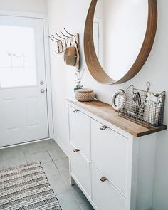 entryway decor Easy Shoe Cabinet Ikea Hack for a Narrow Entryway Lavender Julep Narrow Entryway, Hallway Ideas Entrance Narrow, Ikea Entryway, Modern Hallway, Entryway Shoe Storage, Narrow Hallway Decorating, Ikea Hallway, Hall Storage Ideas, Narrow Bedroom Ideas