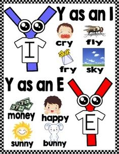 """Introduce your students to the """"Y"""" twins. I and E are twin brothers with different sounds. Use these cute y as a vowel activities to familiarize your students with the sound that each one makes. Phonics Chart, Phonics Rules, Phonics Lessons, Jolly Phonics, Spelling Rules, Phonics Reading, Teaching Phonics, Kindergarten Reading, Teaching Reading"""