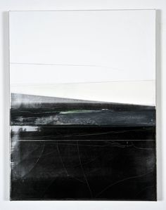 Svenja Deininger, Untitled, 2011, oil on canvas / black and white abstract landscape