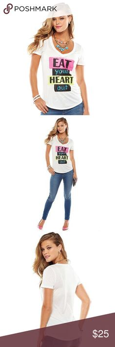 """JUICY COUTURE White Sequin Tee NWT Juicy Couture white ''Eat Your Heart Out'' graphic sequin t-shirt will give you a fun, fashionable look! The ''eat your heart out'' graphic adds playful appeal to any laid-back outfit. White t-shirt with pink, yellow & blue sequins.   Vneck Short sleeves Lightweight jersey Machine wash  *CHEST S (32""""), M (36""""), L (38""""), XL (40"""")  *Bundle Discounts * No Trades * Smoke free Juicy Couture Tops Tees - Short Sleeve"""