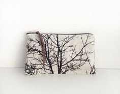 Linen zipper pouch silkscreen print makeup bag by Indigobirddesign, $24.00