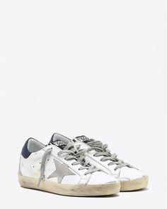 Golden Goose Woman Sneakers Superstar - White Blue Zebra Cream Sole