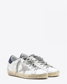 Golden Goose Woman Sneakers Superstar - White Blue Zebra Cream Sole